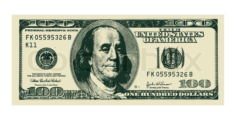 800x408 Vector 100 Dollar Bill On White Stock Vector Colourbox