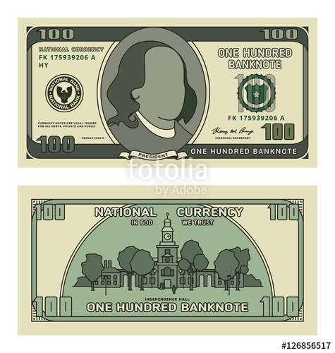 475x500 Cartoon 100 Currency Us Dollar Banknote. Backside Of One Hundred