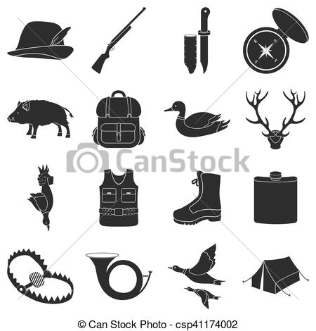 450x470 Hunting Set Icons In Black Style. Big Collection Of Hunting