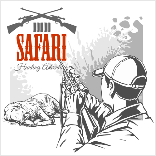 500x500 Safari Hunting Clud Poster Vector 08 Free Download