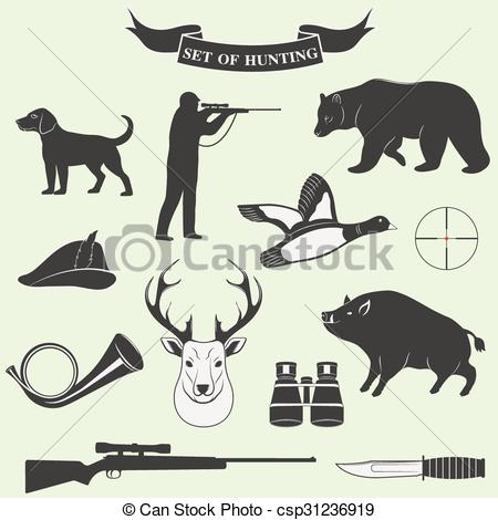 450x470 Set Of Vintage Labels On Hunting. Vector Illustration.