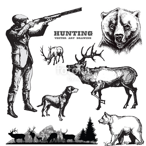 500x500 Hunting Vector Set.hunter With Dog And Wildlife. Stock Image And
