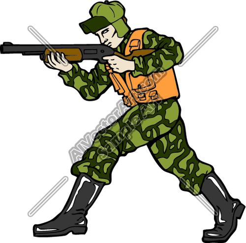 500x495 Camoflagued Hunter Clipart And Vectorart Sports