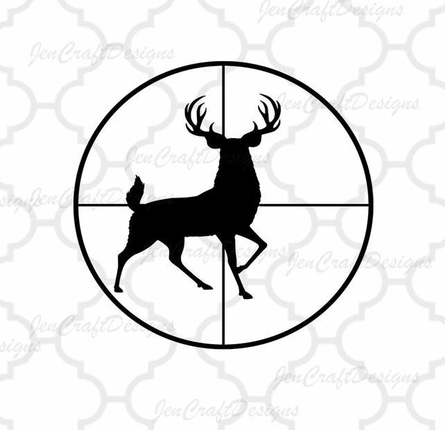 642x620 Deer Svg Buck In Gun Sights Crosshair Cutting File Hunting Etsy