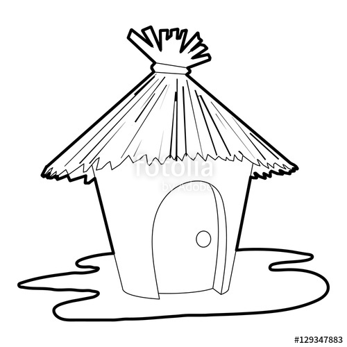 500x500 Hut Icon. Outline Illustration Of Hut Vector Icon For Web Stock