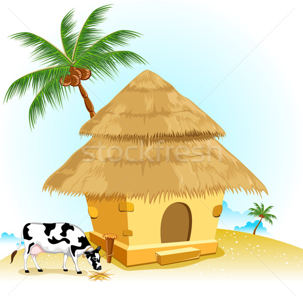 600x600 Hut With Cow Vector Illustration Vectomart ( 1161714) Stockfresh