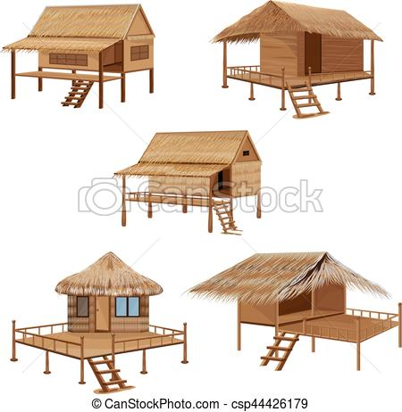450x462 Straw Roof Hut Vector Design.