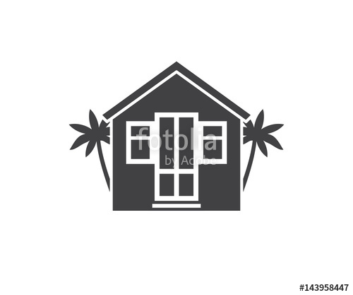 500x417 Summer Bungalow Icon In Outline Design. Beach Hut Logotype