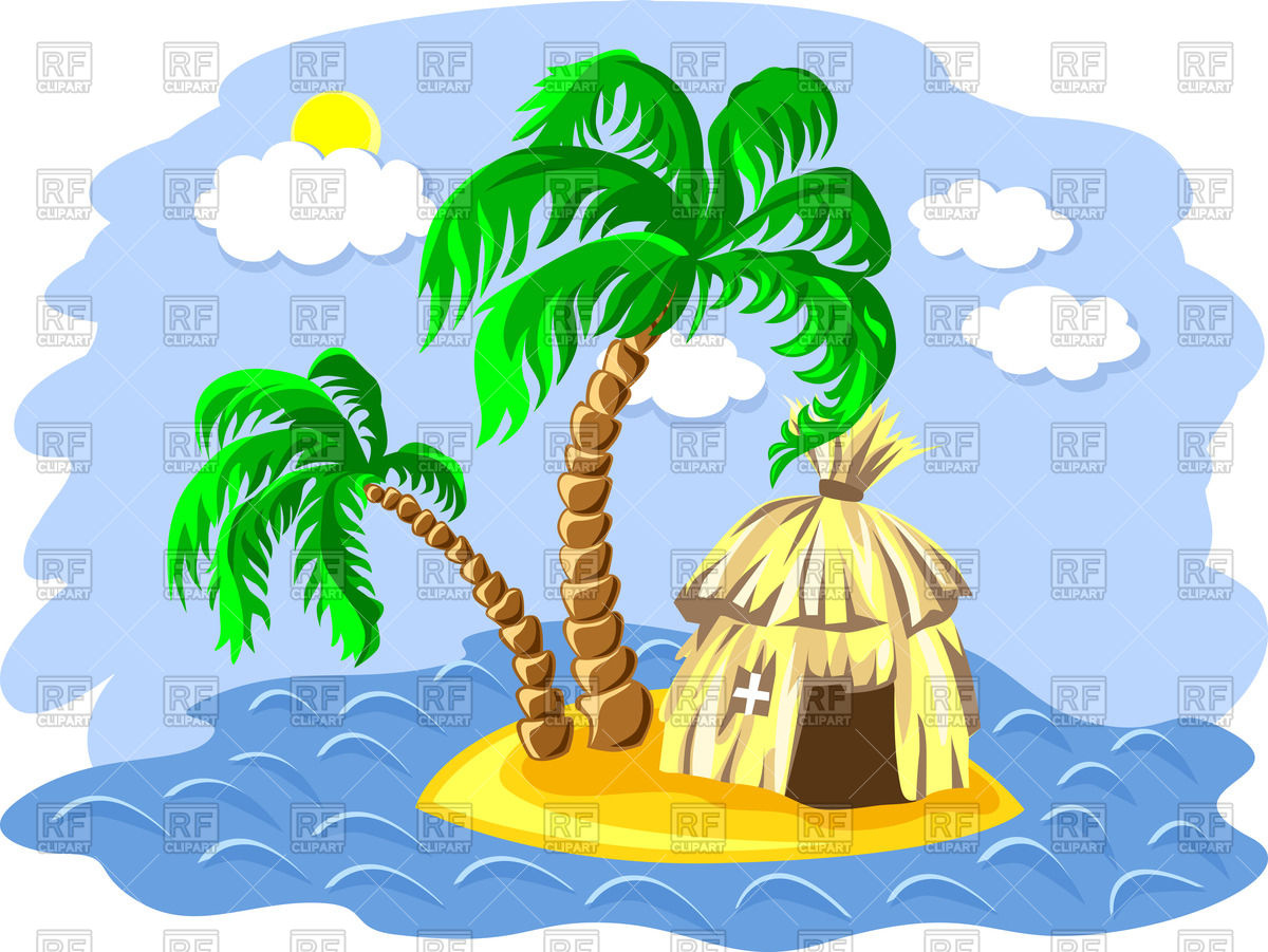 1200x901 Tropical Island In The Ocean With Two Palm Tree And Hut Vector