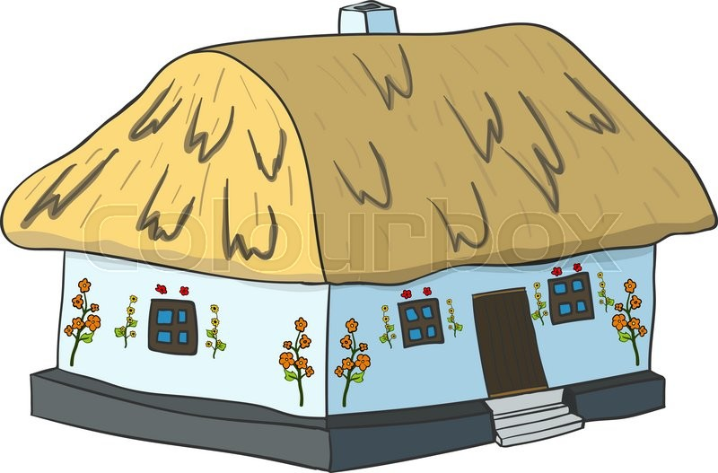 800x527 Vector Illustration Of Ukrainian Hut Image. The Symbol Of The