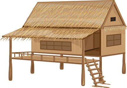 431x299 Bamboo Straw Hut Vector Design Stock Vectors
