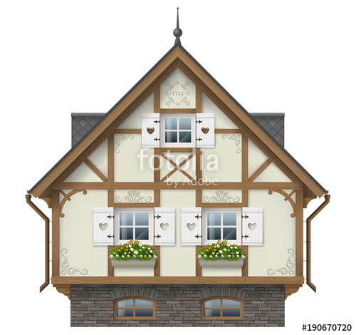 500x470 Classic Half Timbered House. German Traditional Architecture