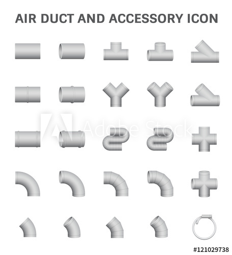 456x500 Vector Icon Of Air Duct And Accessory For Air Conditioning Or Hvac