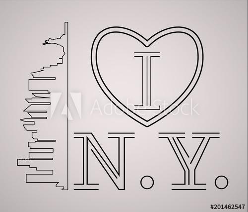 500x426 I Love New York Skyline And Landmarks Silhouette, Black And White