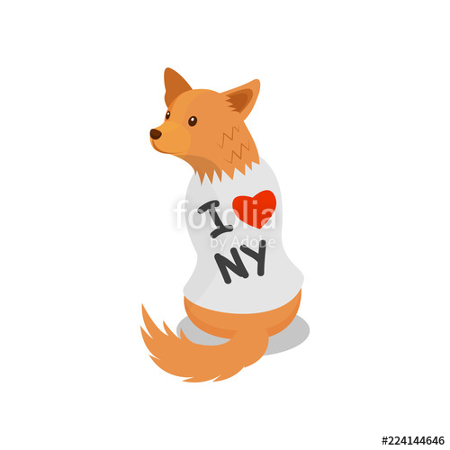 500x500 Pedigree Dog In A White Shirt With An Inscription I Love Ny, Cute