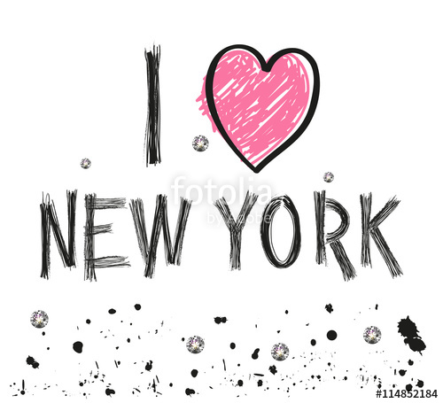 500x455 I Love New York Hand Drawn Letter With Sparkling Dots And Paint