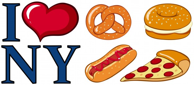 626x275 Different Food And I Love New York Sign Illustration Vector Free