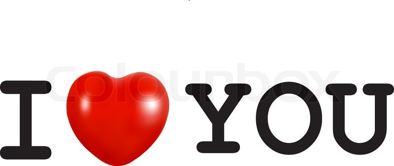 800x338 I Love You Concept With A Red Heart. Vector. Stock Vector