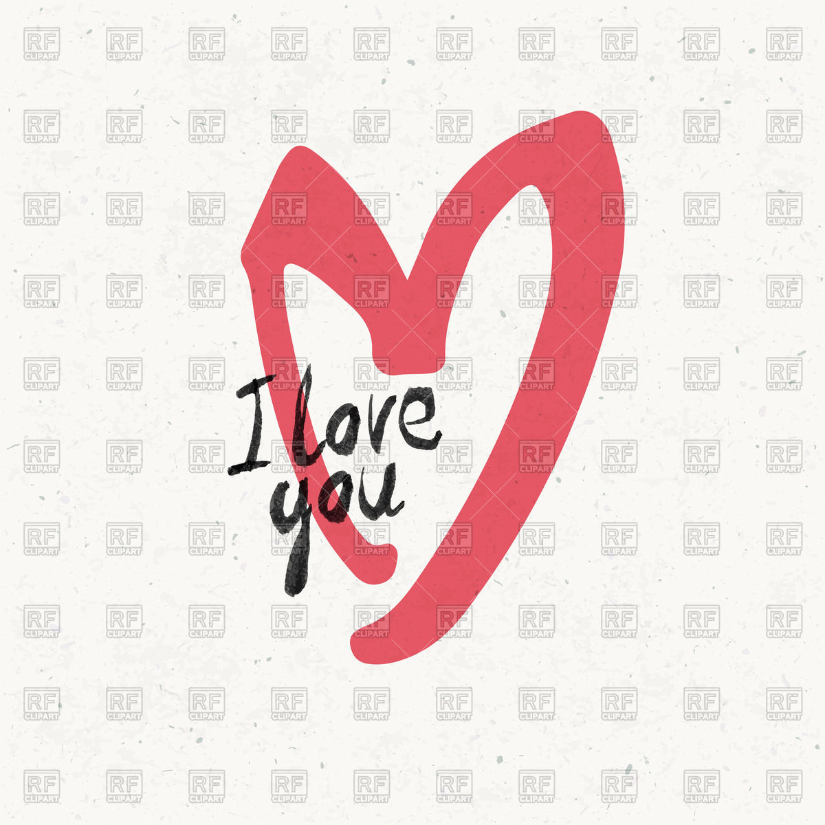 1200x1200 I Love You With Sketch Of Heart Vector Image Vector Artwork Of