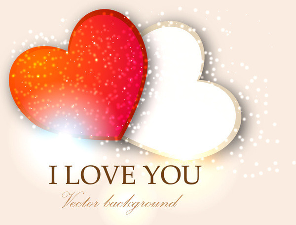 600x455 I Love You Two Heart Valentine Background Free Vector In Adobe