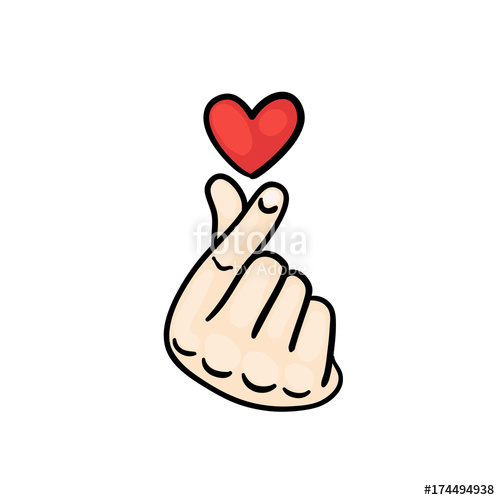 500x500 Korean Finger Heart I Love You Hangul. Vector Illustration. Korean
