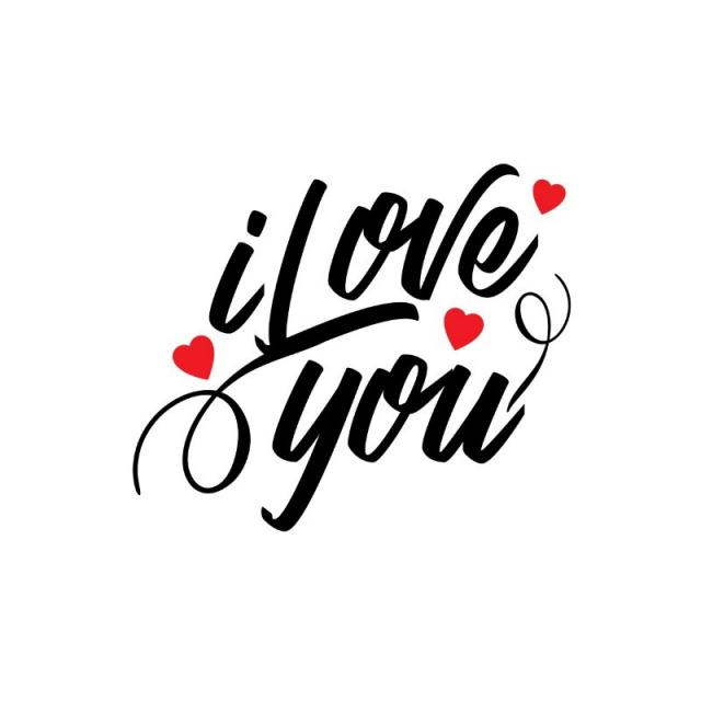 640x640 I Love You Typographic Vector, Concept, Creative, Date Png And