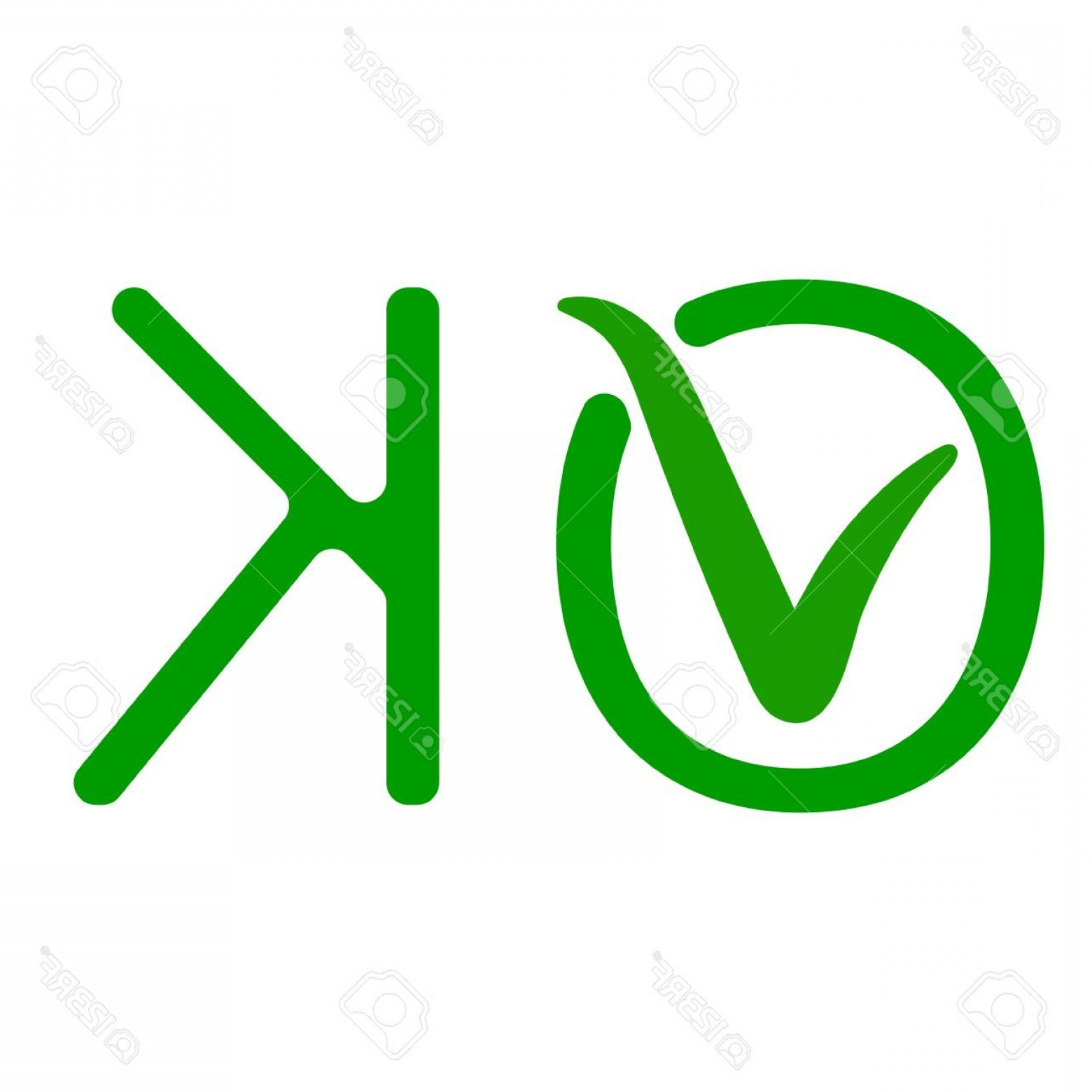 1560x1560 Photostock Vector Word Ok With A Green Checkmark Of Approval The