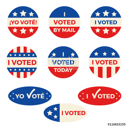 500x500 Set Of Nine Different I Voted Badges And Stickers, Both In