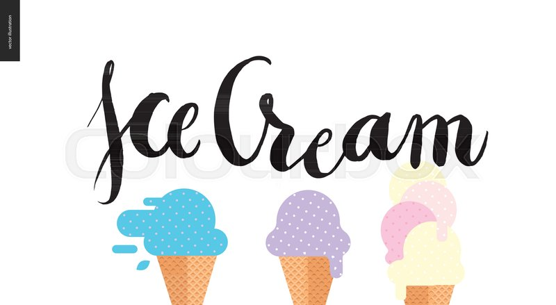 800x439 Ice Cream Lettering And Three Ice Cream Cones