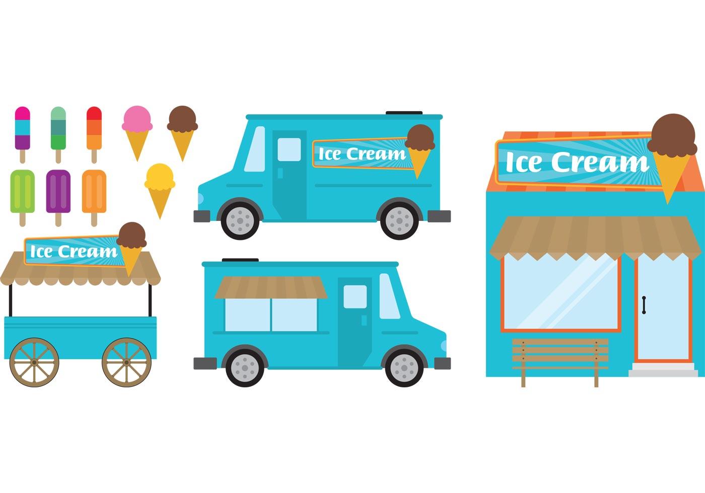 1400x980 Ice Cream Truck Free Vector Art