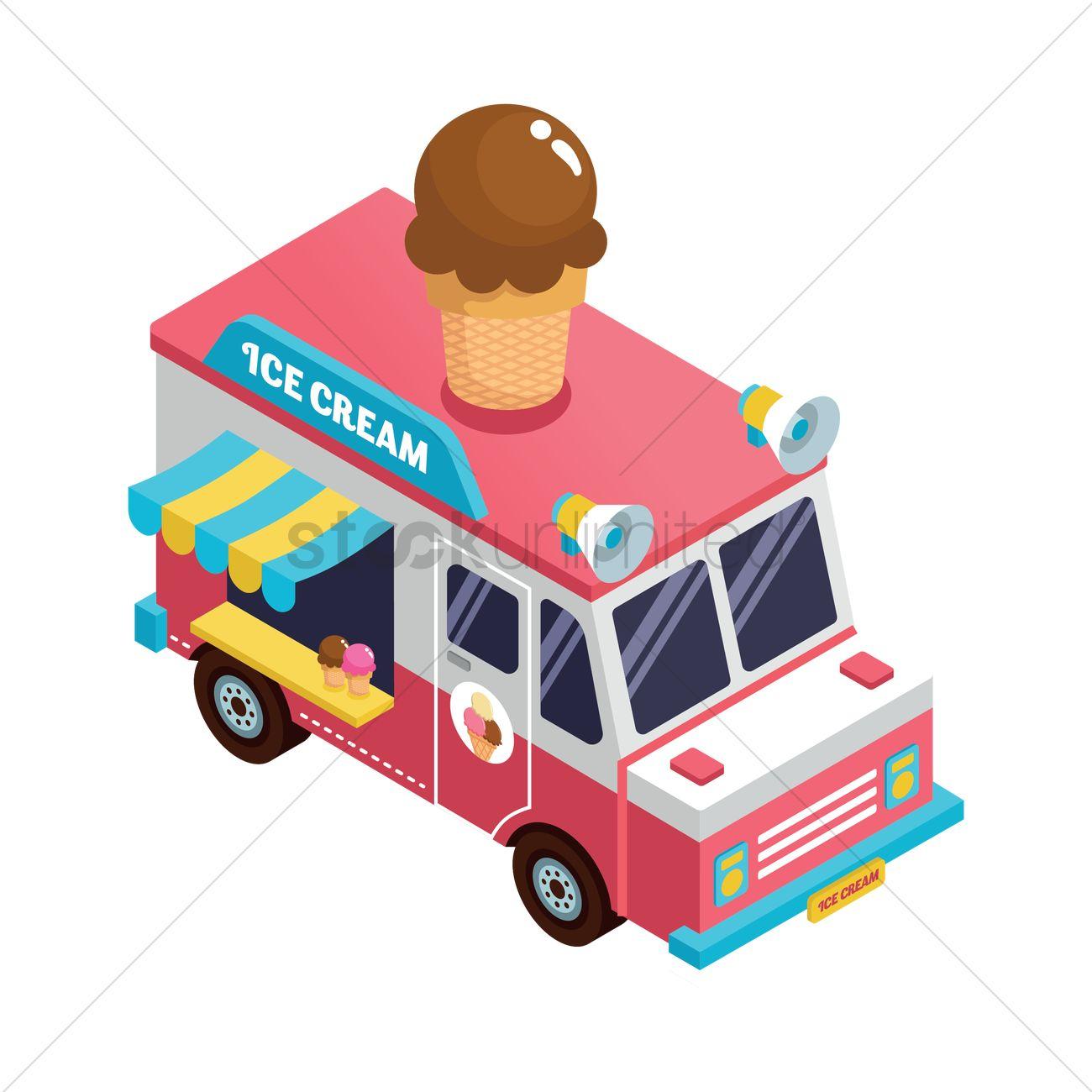 1300x1300 Ice Cream Truck Vector Image