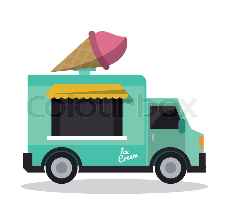800x740 Ice Cream Truck Fast Food Delivery Transportation Creative Icon
