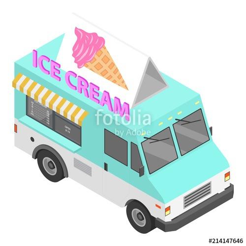 500x500 Ice Cream Truck Icon. Isometric Of Ice Cream Truck Vector Icon For