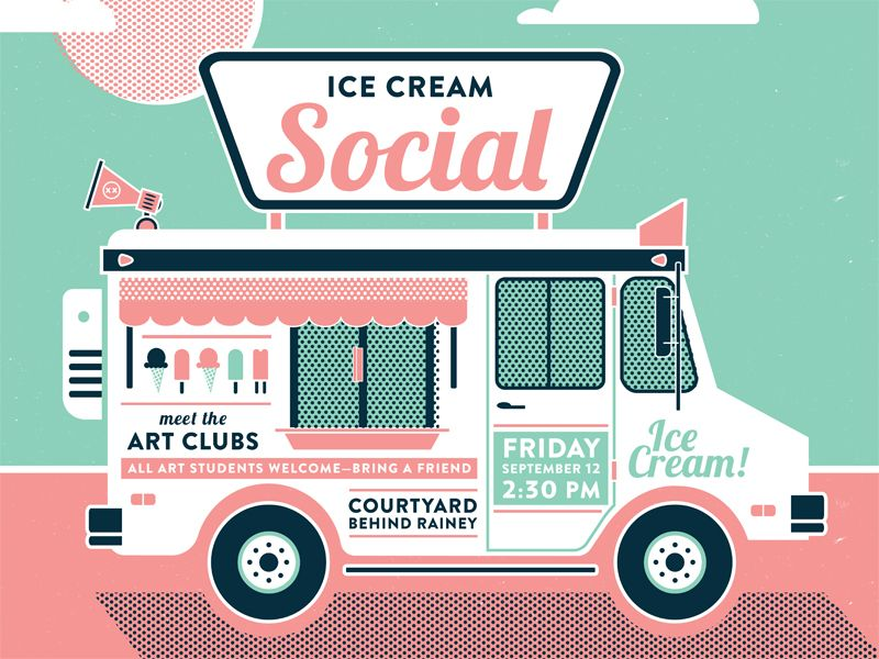 800x600 Ice Cream Truck Illustration For A Poster. Vector Graphic