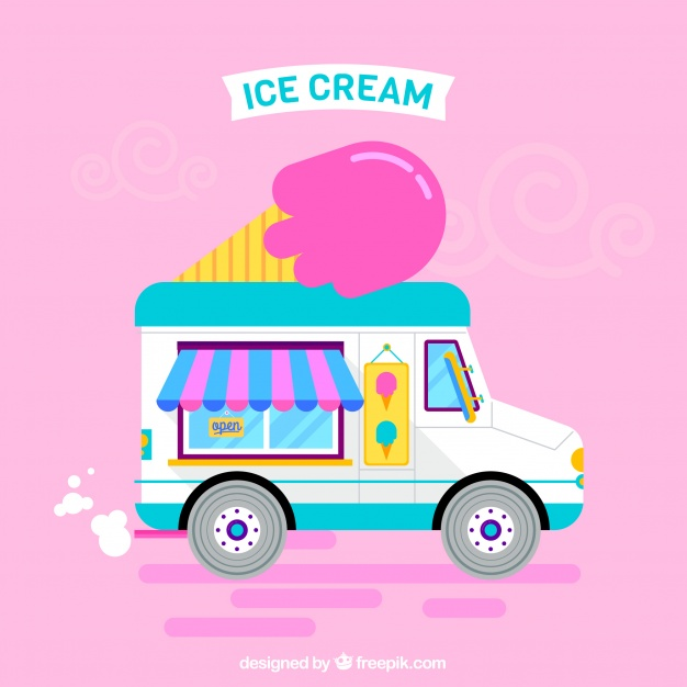 626x626 Ice Cream Truck With A Pink Background Vector Free Download