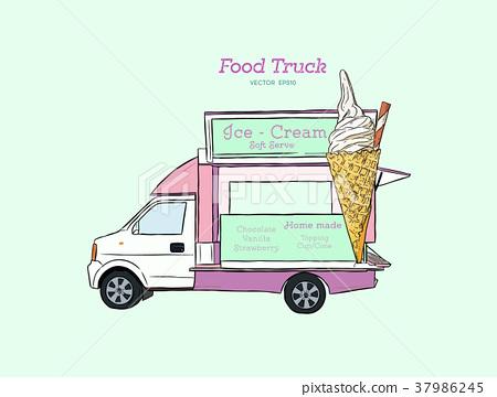450x360 Ice Cream Truck. Vector Hand Drawn Illustration