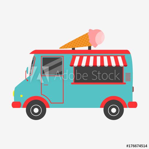 500x500 Ice Cream Truck. Vector Illustration In Flat Style.