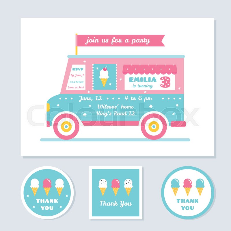 800x800 Icecream Truck Vector Kids Party Invitation And Thank You Cards