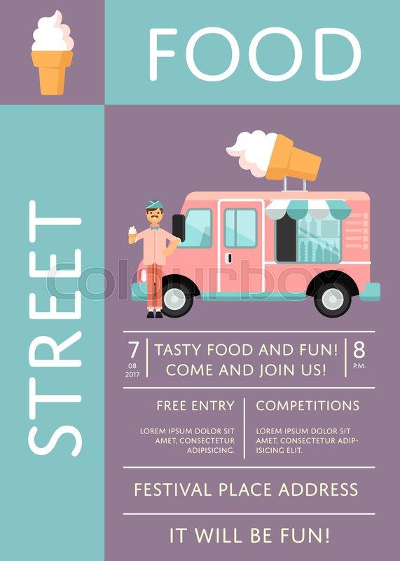 571x800 Street Food Festival Invitation With Ice Cream Truck. Culinary