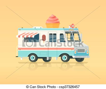 450x380 Vector Colorful Flat Ice Cream Truck. Vintage Colors Concept