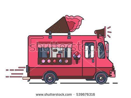 450x338 Vector Van Illustration. Retro Vintage Ice Cream Truck On White