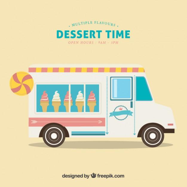 626x626 Cute Ice Cream Truck Vector Free Download
