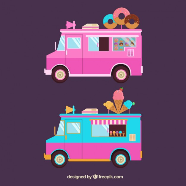 626x626 Donut And Ice Cream Trucks Vector Free Download
