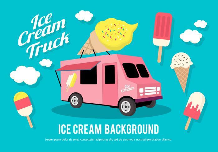 700x490 Flat Ice Cream Truck Vector Illustration