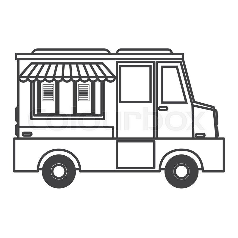 800x800 Flat Design Ice Cream Truck Icon Vector Illustration Stock