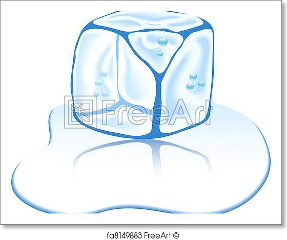 560x470 Free Art Print Of Ice Cube. Shiny Ice Cube. Vector Illustration