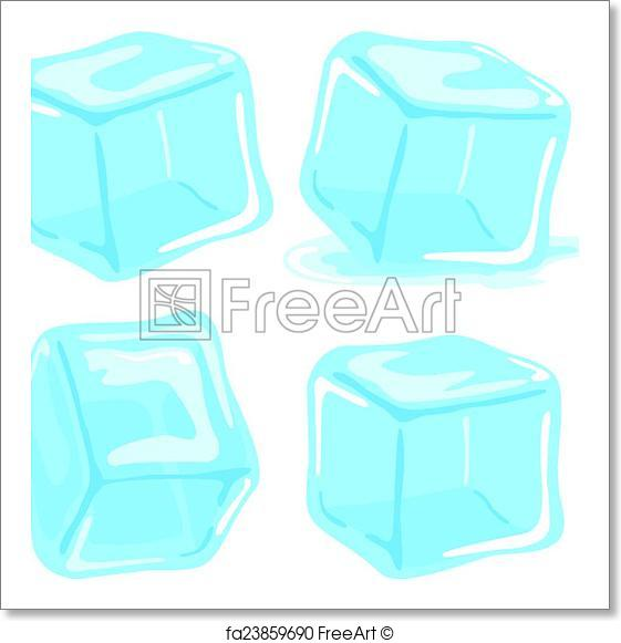 561x581 Free Art Print Of Ice Cubes. Ice Cubes And Melted Ice Cube Vector