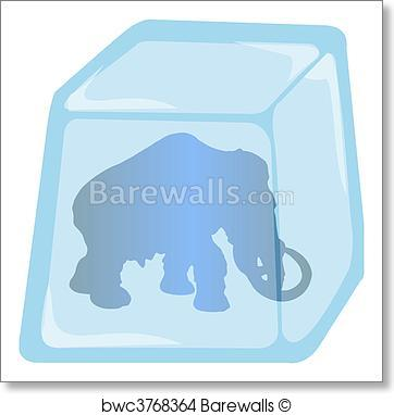 362x382 Art Print Of Illustration Of Mammoth In Ice Cube Barewalls