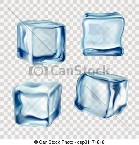 450x470 Ice Cubes Blue Transparent. Realistic Blue Solid Ice Cubes On