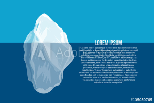500x334 Iceberg Above And Under Water. North Sea Poster With Abstract